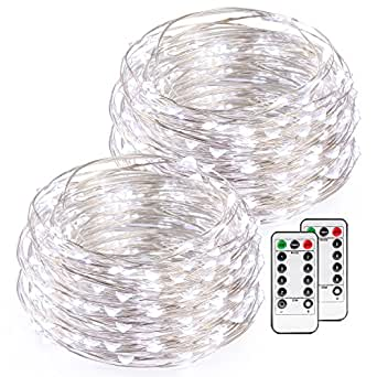 Kohree White Christmas String Lights with Remote Control, AA Battery Powered on 16.4ft/5M Long Ultra Thin String Copper Wire,50 Led Rope Lights For Christmas, Wedding,Parties With Battery Box,2 Set