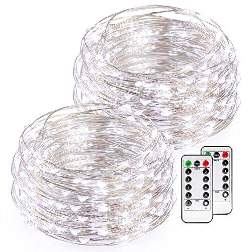 hte Lichterkette Kupferdraht mit Fernbedienung 50 LEDs 16.4ft/5M, AA Batteriebetriebene String Lights für Weihnachten, Hochzeit, Party, Garten, 2 Stück, Weiß (Kreative Küche, Ideen Für Halloween)