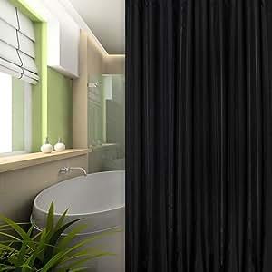de luxe textile rideau de douche noir ray 240x200 cm bagues noir inclue 240 x 200 extra large. Black Bedroom Furniture Sets. Home Design Ideas