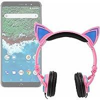 DURAGADGET Auriculares Plegables estéreo con diseño de Orejas de Gato en Color Rosa para Smartphone BQ