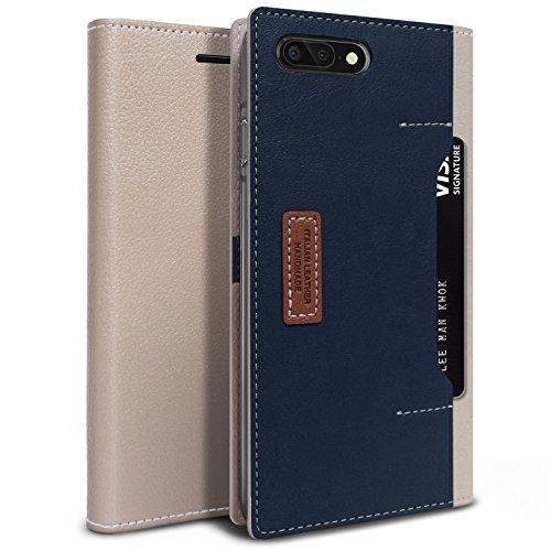 iPhone 8 Plus Hülle, OBLIQ [K3 Brieftasche] [PREMIUM LEDER] Flip-Cover mit vier Kreditkarten- & ID Pocket Slots Stilvolle Wallet Case für Apple iPhone 8 PLUS (2017) / iPhone 7 PLUS (2016) (Schlammgrau / Navy)