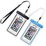 IWAMEE Waterproof Case, Universal Underwater Dry Bag Pouch, Touch ID Fingerprints Transparent Window Watertight Sealed System for iPhone 7 7plus 6 6s Samsung Galaxy s6 s7 s7 edge Huawei and Other Smartphone up to 6 inches for Boating Swimming Diving Hiking ( Black + Blue, pack of 2 )