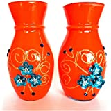 U Like Decorative Glass Flower Vase Embossed With Sparkling A Perfect Home Decorative Flower Pot Set Of 2 (6 Inch) (Orange)