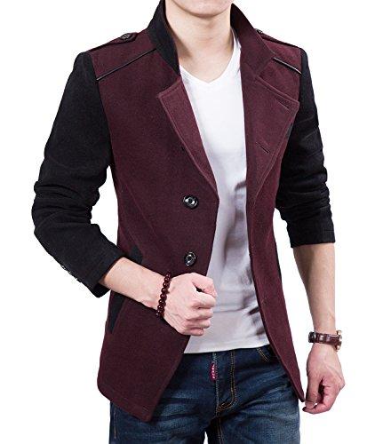 Brinny Veste automne Trench Loisirs blouson Hommes Blazer Slim Fit Suit Rouge&Noir