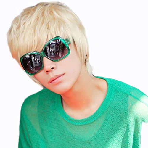 Rise World Wig Cooles Mens Jungen Short 25cm gerade blonde Haar Party Hitzebeständige Cosplay Perücke (Gerade Cosplay Perücke Blonde)