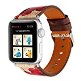 TINERS Compatibile Apple Watch Band 44Mm 42Mm 40Mm 38Mm Moda Casual Stile retrò Cinturino in Pelle Iwatch Band Series 4/3/2/1 Generazione,Safflower,38MM