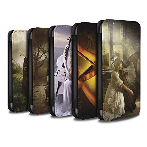 Officiel Elena Dudina Coque/Etui/Housse Cuir PU Case/Cover pour Apple iPhone X/10 / Abandonné Design / Réconfort Musique Collection Pack 6pcs