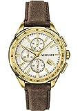 Versace Herren-Armbanduhr Schweizer Chronograph Quarz braun IP-Gold Glasur VEBJ00418