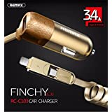 BlueInk Finchy Series Remax 3.4A Fast Charging 3 In 1 Micro USB + 8 Pin Lightning + USB Car Charger Adapter For IPhone/Samsung/Android And Other Smartphones/ Tablets (GOLD)