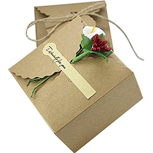50pz cubo scatola portaconfetti porta dolcetti carta kraft elegante giardino festa eventi (autoadesivo chiusura, fiore calle e bacche)