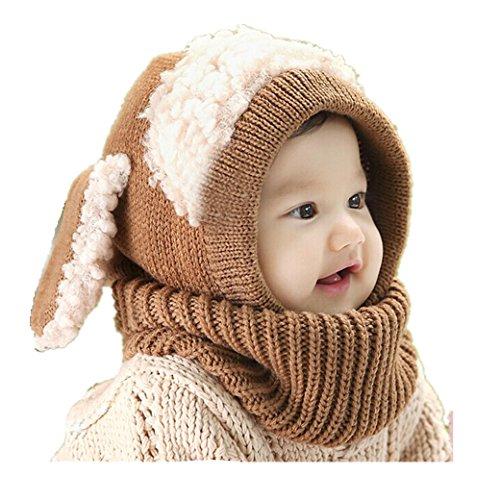 & Mützen Longra Niedlich Winter Baby Kinder Mädchen Jungen Warm Woll Haube Kapuze Schal Mützen Hüte (Khaki) (Winter Mützen Für Kinder)