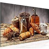 Bilder Küche Kaffee Wandbild 150 x 60 cm Vlies - Leinwand Bild XXL Format Wandbilder Wohnzimmer Wohnung Deko Kunstdrucke Braun 5 Teilig - MADE IN GERMANY - Fertig zum Aufhängen 505056b