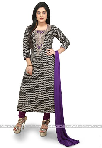 Utsav Fashion Printed Cotton Straight Suit in Black Color