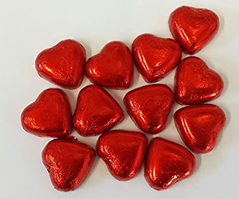 Red Foiled Milk Chocolate Caramel Creme Hearts - 1kg