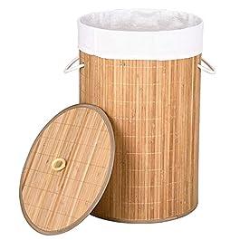 BAKAJI Cesto Biancheria Sporca Portabiancheria Casa in Legno di bambù e Tessuto Contenitore Pieghevole Salvaspazio con…