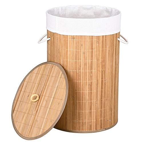 Bakaji cesto biancheria sporca portabiancheria casa in legno di bambù e tessuto contenitore pieghevole salvaspazio con coperchio e manici capacità 70lt dimensione 38 x 60 cm (naturale)
