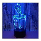 WFTD Luce Notturna 3D, Materiale Acrilico a Luce LED a 7 Colori. Luce Notturna a Forma di Ballerina. Alimentazione USB con Telecomando, luci d'atmosfera da Comodino per Bambini