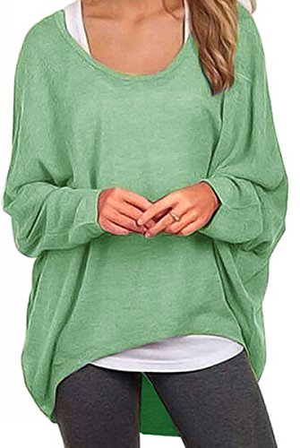 Meyison Damen Lose Asymmetrisch Sweatshirt Pullover Bluse Oberteile Oversized Tops T Shirt Hellgrün L