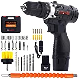 Cordless Drill Driver - 12V, GOXAWEE 100Pcs Electric Screwdriver Set with 2 x