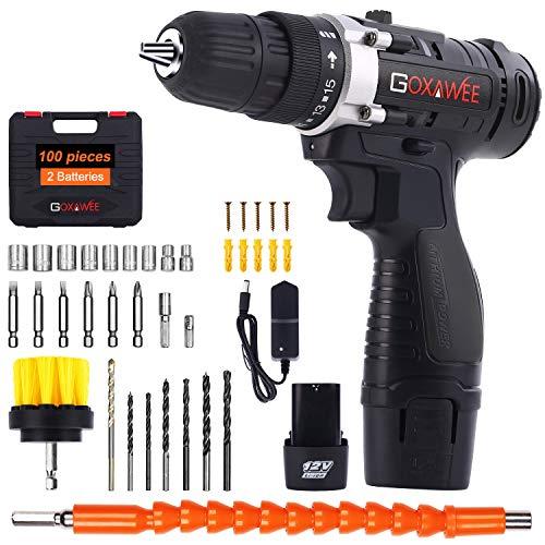 Taladro Atornillador 12V, GOXAWEE 100Pcs Kit Taladro Electrico/Destornillador Eléctrico (2 Baterías de...