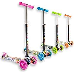 Trottinette 3 roues débutante pour enfant 4 à 10 ans idéal pour apprentissage, couleurs et motifs variés et des roues lumineuses et solides - Pour tourner : Inclinez le guidon !(Rose motif, 4-10 ans)