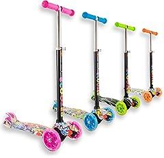 Idea Regalo - Staro - Monopattino a 3 ruote con potenti luci a LED, regolabile in altezza, per bambini da 2 a 10 anni, facile da usare, ideale per principianti, Pink with drawings, 4-10 years old