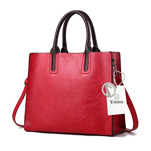 Sacchetti Yoome Retro per le donne grande capienza Tote Handle Bag Borsa Portafoglio Makeup - Grigio Rosso