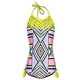 DAYU Mädchen Badeanzug Einteiler Bohemian Stil Badeanzug Bademode Kinder Strand Beachwear -S