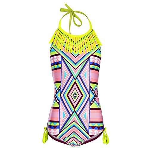 DAYU Mädchen Badeanzug Einteiler Bohemian Stil Badeanzug Bademode Kinder Strand Beachwear -M