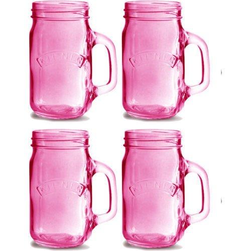 Kilner-Set di 4 rosa con manico in