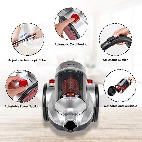 mfavour Aspiradoras de Trineo aspiradora sin Bolsa 18Kpa 800W 2L Radio de operaci/ón de 8 m Boquilla combinada 2 en 1 en la Manguera Filtro de Alto Rendimiento de 5 etapas