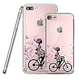 Original Lanboo® Silikon Case #1 - M3 Design für Apple iPhone 6 Plus / 6s PlusMotiv Druck Tasche Hülle Cover Etui Disney Cartoon Tattoo Mädchen Frau Blümchen auf Fahrrad Bike Rad Schmetterling