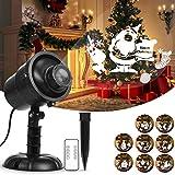 Luci del proiettore di Natale, HOSPORT 360 ° rotante proiettore di illuminazione a LED decorativo con telecomando RF, illuminazione decorativa impermeabile esterna per vacanze festa di Natale