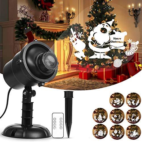 Weihnachtsprojektor-Lichter, drehender dekorativer LED-Beleuchtungsprojektor HOSPORT 360 ° mit Rf-Fernbedienung, wasserdichte dekorative Beleuchtung im Freien für ()