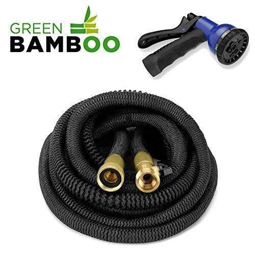 Green Bamboo®] Ausziehbare & Einziehbare Gartenschläuche & Zubehöre/ Verstärkter Gartenschlauch / 15m (50 Fuß) + Messing-Schraubenverbindung + 8-Funktionen-Wasserwerfer