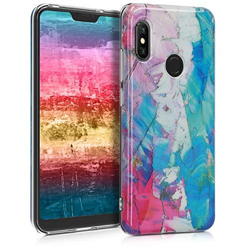 kwmobile Funda para Xiaomi Redmi 6 Pro/Mi A2 Lite - Carcasa de TPU para móvil y diseño de Manchas de Colores en Rosa Fucsia/Violeta/Azul
