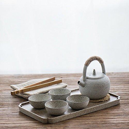 Ensemble de Théière Poignée en Argile Blanche Japonaise Ensemble de Thé Maison en Kungfu Créative Simple en Grès,UNE