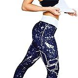 Harpily Damen Drucken Workout Leggings Fitness Sport Studio Läuft Yoga Athletic Hosen Dünne Hose für Tanzgymnastik(Blau,L)