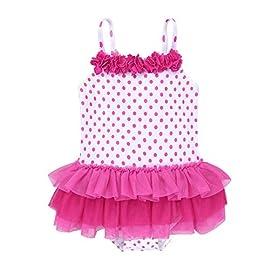 dPois Baby Girls One-Piece Polka Dots Swimming Costume Bikini Swimsuit Newborn Ruffle Hem Swimwear Bathing Suit