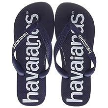 Havaianas Unisex Adult's Top Logomania Flip Flops, Navy Blue, 10/11 UK 45/46 EU