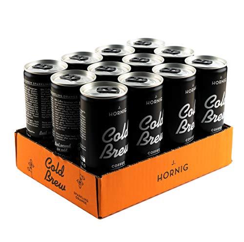 J. Hornig Cold Brew Coffee Sparkling Orange, Kaffee Kaltgetränk mit Orangengeschmack, mit Kohlensäure, 250ml Dose (12 Dosen)