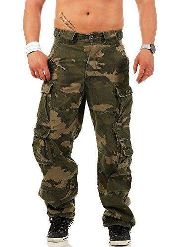Jet Lag Herren Cargohose Hose 007 Loose-Fit Seitentaschen dark camouflage XL/34