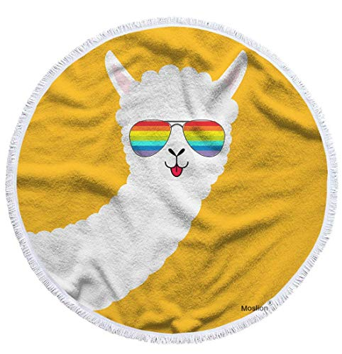 Jhonangel Lama Strandtuch Decke niedlichen Tier Alpaka Lama Gesicht mit Regenbogen Sonnenbrille Handtuch weiche Mikrofaser Tapisserie mit Quaste 18 x 18 Zoll für Kinder Erwachsene