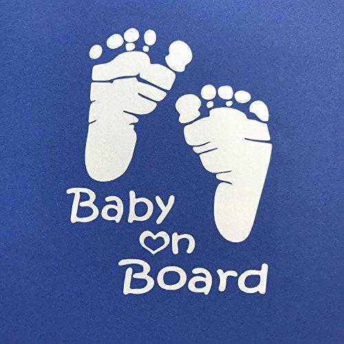 """Autoaufkleber """"Baby on Board"""" in silbergrau - edler Sticker für das Auto."""