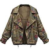 koobea Jacke Damen Herbst Winter Camouflage Military Jacken Mantel Wintermantel Small