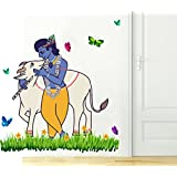 Rawpockets 'Lord Krishna and Cow Nature' Wall Sticker (PVC Vinyl, 1 cm x 95 cm x 75 cm)