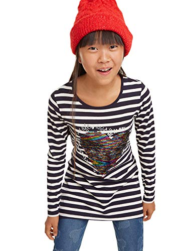 Desigual Mädchen T-Shirt Cross Langarmshirt, Blau (Navy 5000), 140 (Herstellergröße: 9/10)