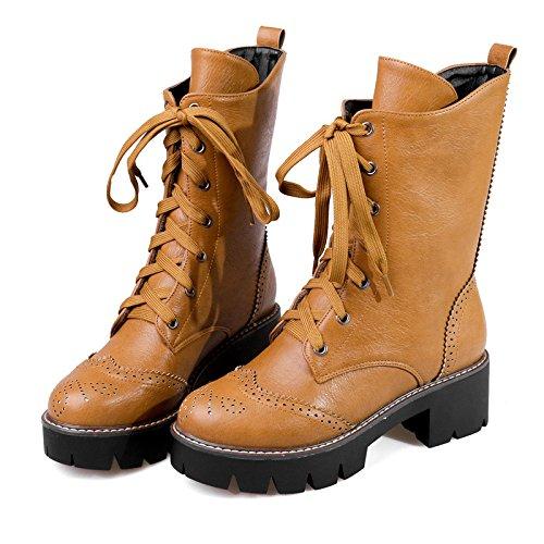 &ZHOU Bottes d'automne et d'hiver Bottes courtes pour femmes adultes Martin bottes bottes Chevalier A5-8 Yellow