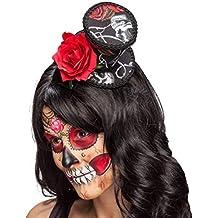 Amakando La Catrina minigorro con Rosa Mini Sombrero de Copa Sugar Skull Accesorio Cabeza Día de