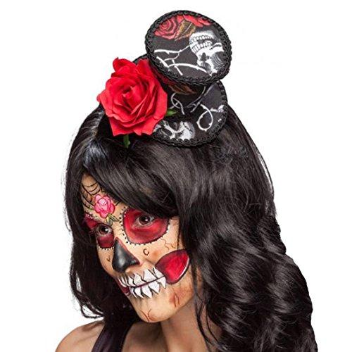 Amakando La Catrina Minihut mit Rose Sugar Skull Minizylinder Kopfschmuck Dia de los Muertos Kleiner Zylinder Calavera Totenfest Zylinderhut Halloween Fascinator Tag der Toten
